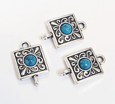 Bulk 30 antique silver square with Turquoise  connector, bulk connectors