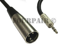 """10ft XLR 3-Pin Male to 3.5mm 1/8"""" Stereo Plug Shielded Microphone Mic Cable TRS"""
