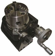 """RDGTOOLS NEW 4"""" TILTING ROTARY TABLE WITH 100MM 4"""" 3 JAW LATHE CHUCK ENGINEERING"""
