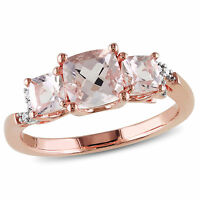 Amour Rose covered sterling silver Morganite and Diamond Accent 3-stone Ring