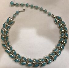 Vintage Silvertone Blue Enamel Necklace Adjustable Choker Signed Coro