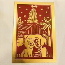 "Christmas boxed 16 Cards Golden Mary Joseph Baby Jesus Hallmark & Env 7""x4.75"""
