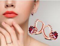 18k Rose Gold Ohrringe vergoldet Creolen Ohrstecker edel Frauen Damen Edelstahl