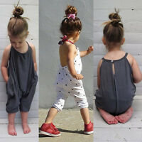 Child Toddler Kids Baby Girls Straps Romper Jumpsuit Bodysuit Outfits Clothes UK