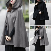 Womens Hooded Cape Cloak Cardigans Coats Ladies Jackets Winter Shawl Outerwear