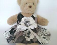 Teddy Bear Clothes, Handmade 'Genni' Monochrome Cotton Dress