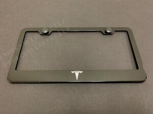1xTESLA BLACK Stainless Metal License Plate Frame + Screw Caps LOGO