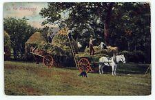 Hay Wagon Haying Carts in the Stackyard Farming Labor Vintage Postcard