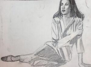 Vintage pencil painting portrait woman