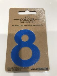 Mills Styrox 55mm. Number | Polycarbonate Self Adhesive |Blue - 8