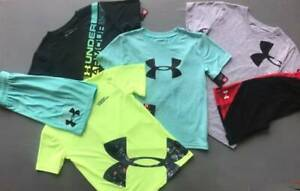 BOY'S SIZE 7 UNDER ARMOUR SHIRTS/SHORTS AQUA SET & GRAY OUTFITS LOT NWT