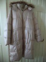 Old Navy Cocoa Beige 3/4 Length w/ Hood Zip Front Puffer Jacket Coat 3X 28 30 4X