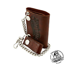 Suavecito Men's Tri-Fold Chain Wallet - Antique Brown