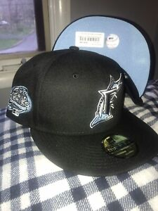 Exclusive Florida Fitted Marlins Hat Black Icy Blue Bottom Fitted Marlins 7 1/4