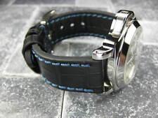 New BIG CROCO 20mm Black LEATHER STRAP Blue Stitch watch Band OMEGA Seamaster