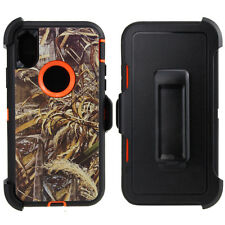 iPhone X 10 Case Camo Cover (Clip fits Otterbox Defender) Tempered Glass Screen