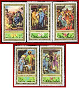 Fujeira 1971 Christmas, paintings  Mi 764A-768A  set, mint never hinged **