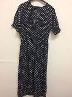 Influence Tall Shirred Sleeve Polka Dot Midi Dress Size 10UK Box E 88