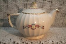 VTG OLD VANITY FAIR BRIDAL TEAPOT WHITE/CREAM WITH GOLD FLORAL PINK BLUE FLOWERS