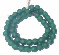 Ghana African handmade Transparent Kelly Green recycled glass trade beads