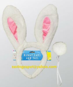 Kids Boys Girls  Rabbit Easter Bunny Ears Tail Fancy Dress Up Accessory Kit