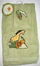 SERENGETI AFRICAN SAFARI ANIMALS MONKEY LION GIRAFFE 2 PC TOWEL SET GREEN
