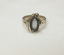WHEELER STERLING SILVER DOUBLE SWIRL & FEATHER MOTHER OF PEARL RING SZ 6.5 **
