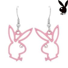 Playboy Earrings Pink Logo Dangle Swarovski Crystal Silver Plated Jewelry Long