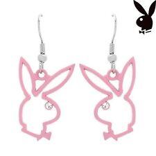 GRADUATION GIFT Playboy Earrings Bunny Charm Pink Enamel Dangle PROM RARE HTF