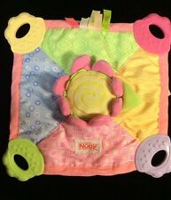 Nuby Flower Security Blanket Lovey Pink Baby Teether Squeaker Soft Toy Soother