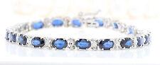 Women Natural Blue Sapphire and Diamonds 13.10 CTW 14K Solid White Gold Bracelet