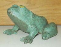 ANTIQUE CA 1890-1910 HEAVY CAST IRON GREEN FROG DOORSTOP