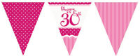 12ft Perfectly Pink Happy 30th Flag Bunting Ladies 30 Birthday Party Decoration
