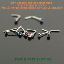 Surgical Stainless Steel Nose Ring L Shaped Stud with 2mm Rhinestone- USA Seller