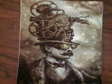 Steampunk Movie Projector Top Hat Linen Square Pillow Cushion Cover.