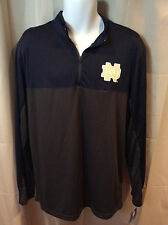 NWT Navy Blue Gray NOTRE DAME FIGHTING IRISH ½ Zip Athletic Shirt Mens LARGE
