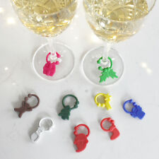 9 Wine Glass Silicone Charms Drinks Markers Secret Santa Xmas Table Decorations