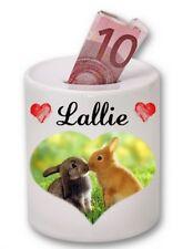 Tirelire céramique lapin personnalisée avec prénom