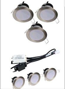 3 x Downlight fixed led In Brush chrome, 4.5w 240v IP20 ceiling spotlights