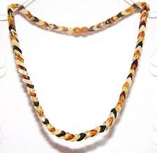 Baltic amber adult necklace, leaf shape multicolor beads 45 cm /17.72 inch
