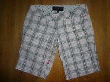 Fox Racing Riders plaid punk bermuda walking shorts white gray pink size 0