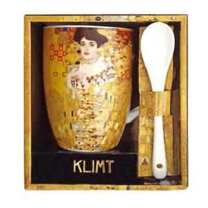 Tasse Gustav Klimt  Adele Bloch Bauer mit Löffel Porzellan