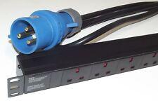 "6 way UK PDU + 32 AMP COMMANDO LEAD 1U 19"" Horizontal Power Distribution Unit"