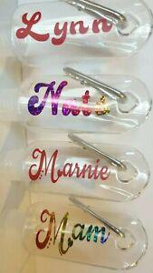 Personalised Liquid Bottle & Clip Hand Lotion Gel Keyring Teacher Gift Care Work