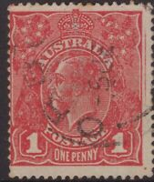 Australia 1d red KGV (s/crown w/m) extra frame line at right?