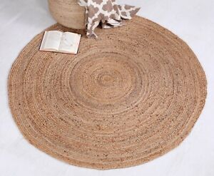 DHAKA Braided Round Rug Hand Woven with Natural Indian Jute Small Medium Large