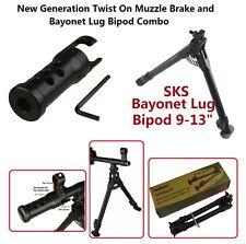 """9"""" - 13"""" SKS Bayonet Mount Bipod and Twist On Muzzle Brake Combo"""