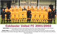 COLCHESTER UNITED FOOTBALL TEAM PHOTO 2001-02 SEASON