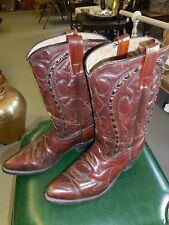 Nice pair vintage 1970's  Cowboy Western Dark Brown leather Boots-free shipping