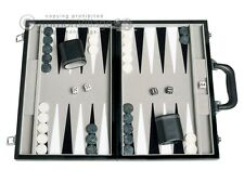 15-inch Leatherette Backgammon Set - Velvet Playing Field - Classic Board Game